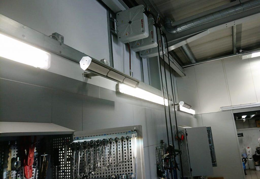 Snows garage workspace heated by Herschel Advantage infrared heating